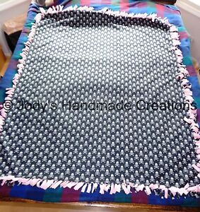 Large Handmade Fleece Tied Throw  Blanket 54 X 66 Light  Pink Back   Skull and Crossbones Front  Warm  Soft  FREE SHIPPING