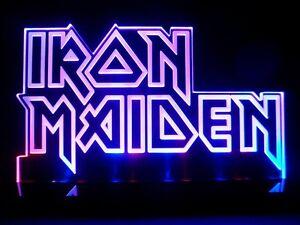 Image Is Loading Iron Maiden LOGO Heavy Metal LED Desk Lamp