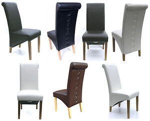 Quality-Dining-Chairs-Faux-Leather-High-Back-Scroll-Roll-Top-Oak-Legs