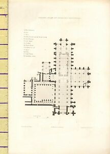 c1790-ANTIQUE-GEORGIAN-PRINT-PLAN-OF-CHESTER-CATHEDRAL-GROUND-FLOOR