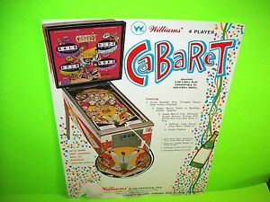 Williams-CABARET-Original-1969-Flipper-Game-Pinball-Machine-Promo-Flyer-FAIR