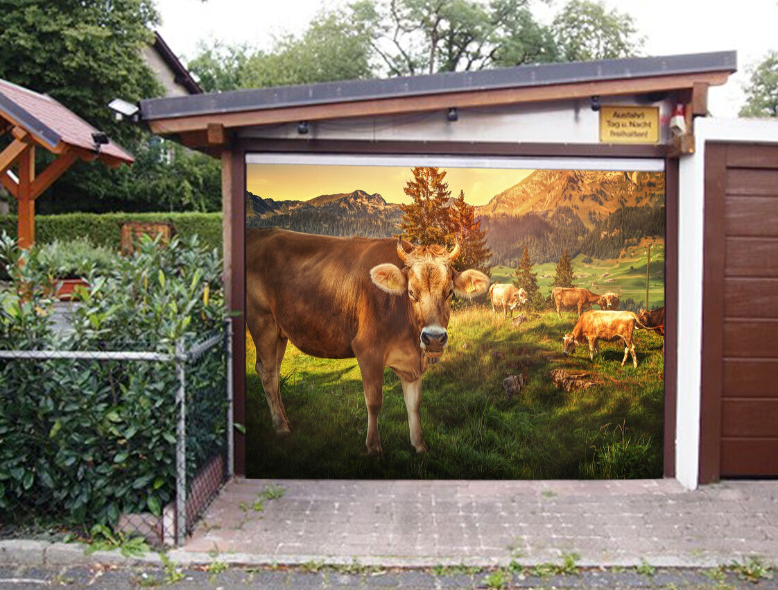 3D Cattle Grass 8 Garage Door Murals Wall Print Decal Wall AJ WALLPAPER UK Carly