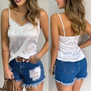 Womens-Girls-Cami-Tank-Sleeveless-Vest-Holiday-V-Neck-T-shirt-Tops-Blouse