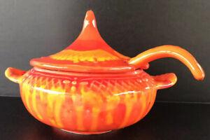 Vintage-MCM-Marcia-California-Pottery-Soup-Tureen-amp-Ladle-Orange-Lava-Drip-Glaze