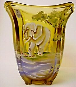 Fenton-Glass-Gold-Elephant-Vase-Good-Fortune-Collection-George-Fenton-Sig-QVC-LE