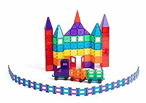 Playmags Award Winning Magnetic Tiles Deluxe Building Set with 2 Cars(150-Piec