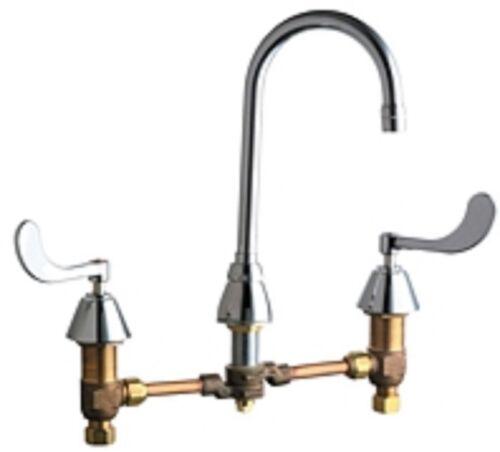 Chicago Faucets 786-WCE3CP Gooseneck Widespread Lavatory Faucet w/ Lever Handles