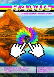 A4 Hands 135gsm Self Adhesive Gloss Photo Paper 100 amp 150 Sheets - Mansfield, United Kingdom - A4 Hands 135gsm Self Adhesive Gloss Photo Paper 100 amp 150 Sheets - Mansfield, United Kingdom