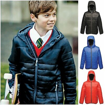 Childrens Padded Jacket Coat Quilted Puffer Hooded School Down Winter Boys Girls