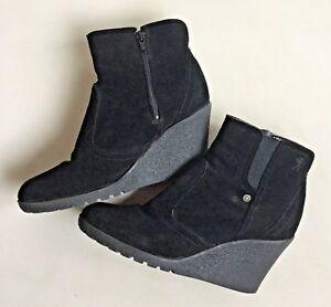 check out 60414 9933f Details zu edc by Esprit Echt Leder Stiefeletten Boots 39 Wildleder  Keilabsatz Schwarz Top