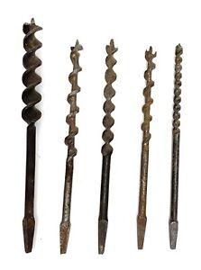 Lot-of-5-Antique-Bit-Brace-Auger-Bits-various-sizes