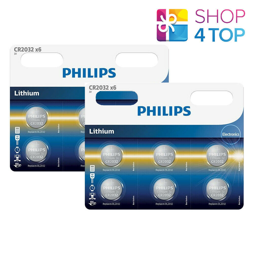 12 Philips CR2032 Lithium Batteries 3V Cell Coin Bouton 6BL Exp 2030 Sept Neuf
