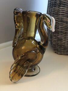 Vintage-Hand-Blown-Art-Glass-Turkey-Vase-Amber