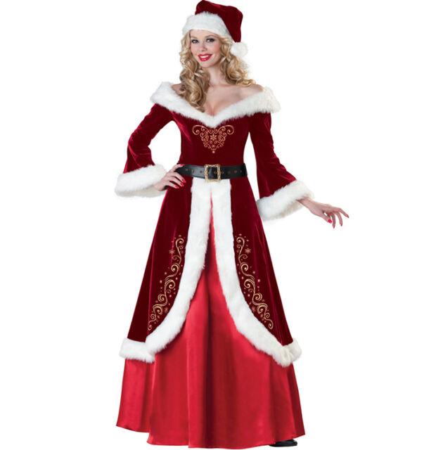 Deluxe Xmas Christmas Santa yuletide ladies Elf Mrs Claus  8 10 12 14 16 18 6285