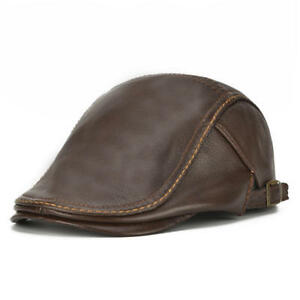 Mens Genuine Cowhide Leather Beret Hat Solid Casual Warm winter hat ... 0bdc03f8aad3
