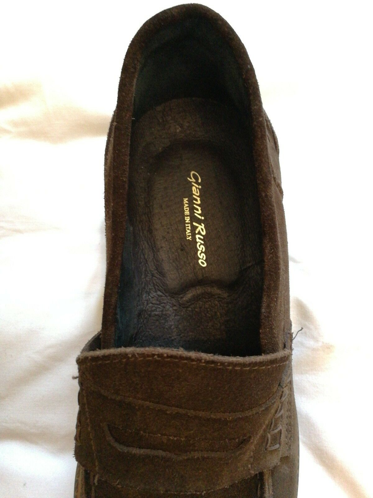 Gianni Russo Russo Gianni Suede Leder Slip-on Penny Loafers Schuhes Braun uk 9 eu 43 5d872a