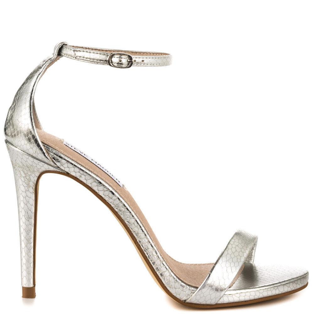 Steve Madden Stecy Women's Dress Toe Heel, Silver Snake SIZE 10 M