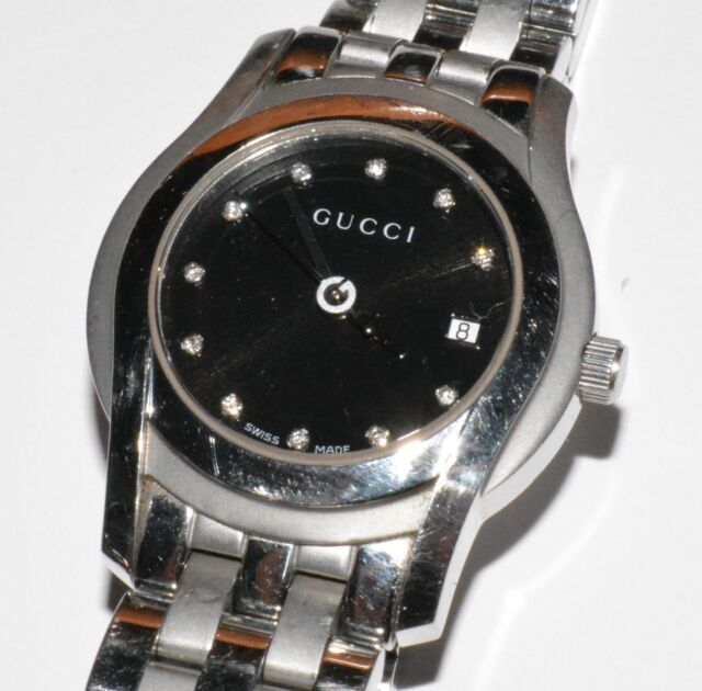 15d040c677f Gucci 5500L 5500 L Stainless Steel 27mm Women s Watch with Diamond Hour  Markers!