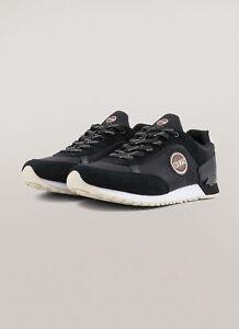 Sneakers-Uomo-Colmar-Travis-Drill-Scarpe-Pelle-Micro-Forata-Nere-Blu-Nuove