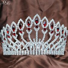 "Pageant 4"" Full Round Tiara Headband Red Crystal Crown Wedding Bridal Prom New"