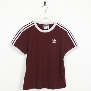 Vintage-Women-039-s-Adidas-Originals-Small-Logo-T-Shirt-Tee-Rouge-Bordeaux-UK-10