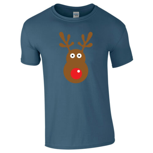 RUDOLPH REINDEER Face Tshirt Tee Top Mens Kids Funny Christmas Xmas Novelty Gift