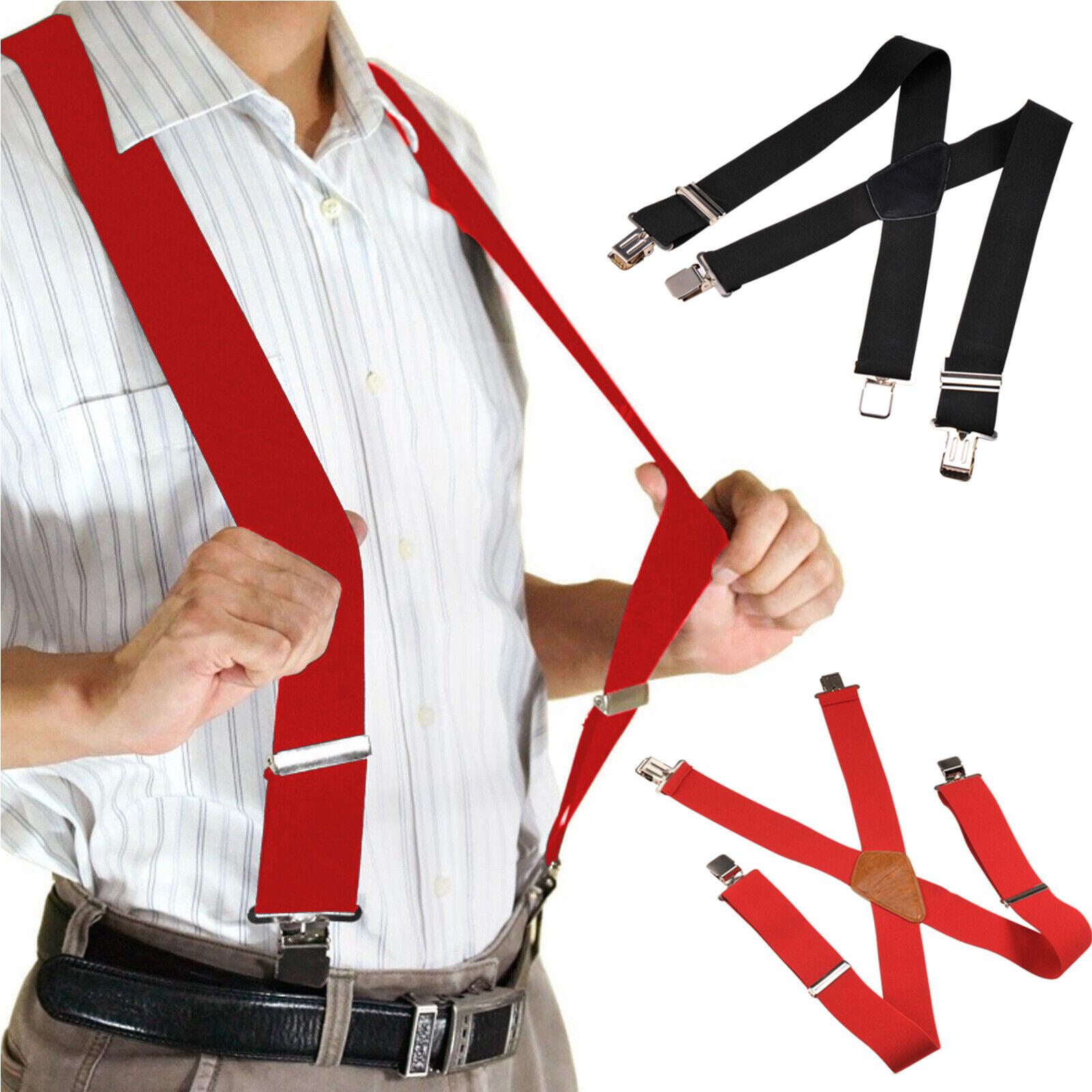 Hosenträger X Form 5cm breit 4 Clips EXTRA STARK UNISEX Elastisch SCHWARZ/ROT