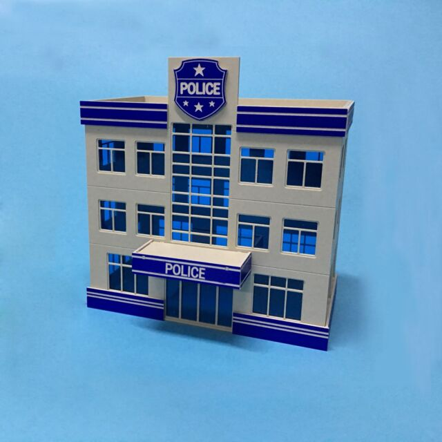 Outland Building Police Staion Model 3 Story Police Office Model 1:87 HO Scale