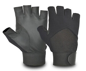 GENUINE-LEATHER-FINGERLESS-DRIVING-GLOVES-SOFT-WEIGHT-WHEELCHAIR-amp-BIKERS