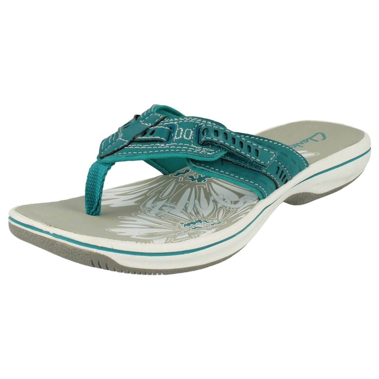 Ladies Clarks Casual Sporty Toe Post Slip On Synthetic Sandals Breeze Sky
