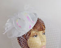 White Head Band W/ Feathers Netting Pearls Sequins Wedding Prom Dance Parties