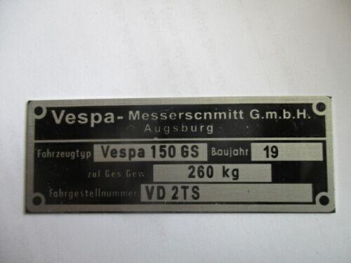 Typenschild ID-plate data plate vespa 150GS 150 GS VD2TS Roller augsburg S51