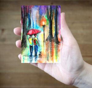 Rain-umbrella-dog-Fantasy-abstract-original-painting-ACEO-watercolor-art-card