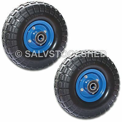"2× 10"" Solid Rubber Wheels Puncture Proof Trolley Flat Free Tire Tyre 19mm Bore"