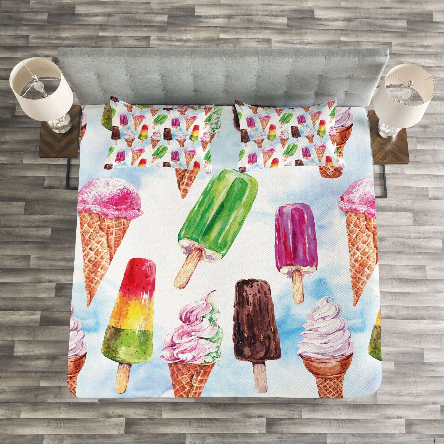 Ice Cream Quilted Bedspread & Pillow Shams Set, Surreal Exotic Print