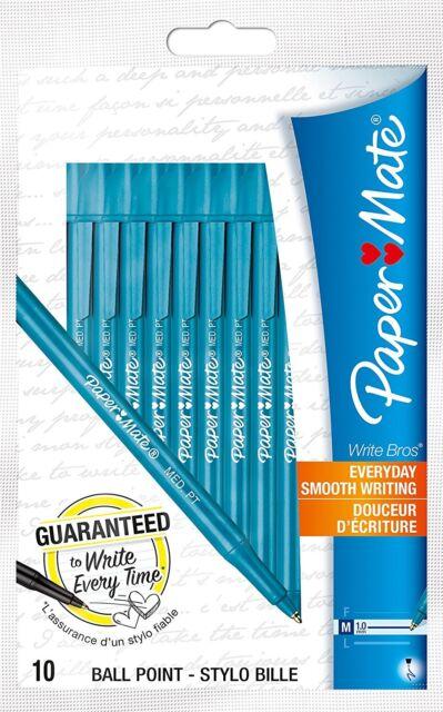 Paper Mate White Bros Ball Pen Medium Tip 1.0mm - Blue Pack of 10