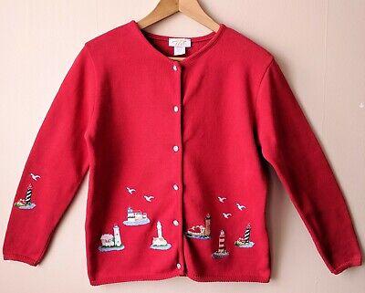 90s Rosso Vintage Cotone Faro Mare Cardigan S M 10 12 14 Novità Kitsch-mostra Il Titolo Originale I Prodotti Sono Venduti Senza Limitazioni