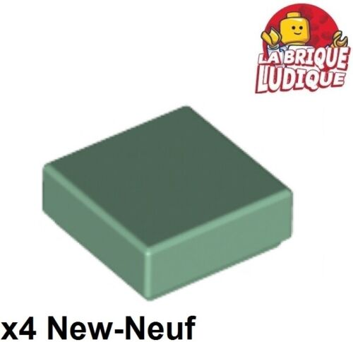Lego 4x Tile plaque lisse 1x1 with Groove vert pale sable//sand green 3070b NEUF
