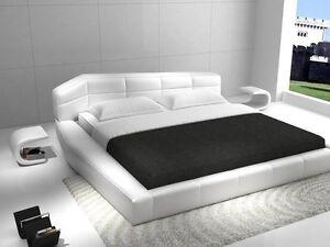 Rishon Queen Size Modern Design White Leather Platform Bed