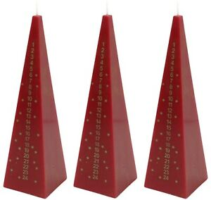 Advent-Pyramid-Candle-Christmas-Countdown-Dinner-Candle-Red-21cm-Tall-Set-Of-3