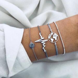 4Pcs-Set-Charm-Map-Heartbeat-Beads-Chain-Rope-Bracelet-Women-Bangle-Jewelry-Gift