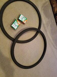 TWO DURO 26 x 1 3//8 2 2 BICYCLE GUM WALL TIRES /& TUBES 37-590