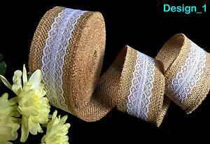 Wedding-Gift-Wrap-Tie-Natural-Hessian-Burlap-Jute-Rustic-Inner-Laced-Ribbon