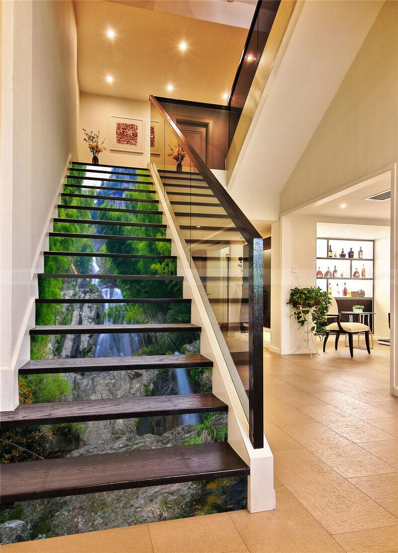 3D Grün Baum 4233 Stair Risers Dekoration Fototapete Vinyl Aufkleber Tapete DE