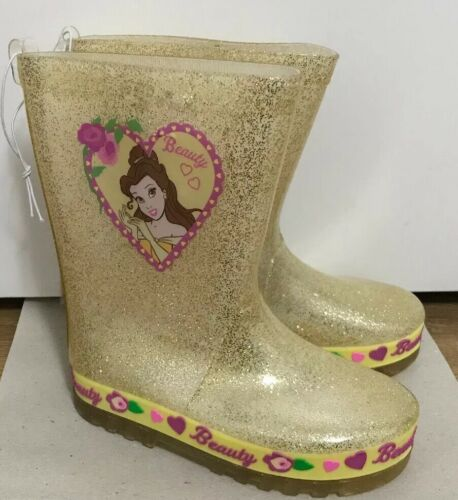 Disney Beauty And The Beast Belle Gold Glitter Wellington Boots Size  10