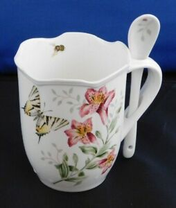 New Lenox Butterfly Meadow Coffee Cocoa Mug Cup and Spoon