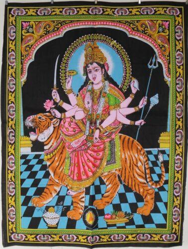 Indisch Durga Amba Hindu Göttin mit Pailletten Wandbehang Fair Trade 80 x 110cm