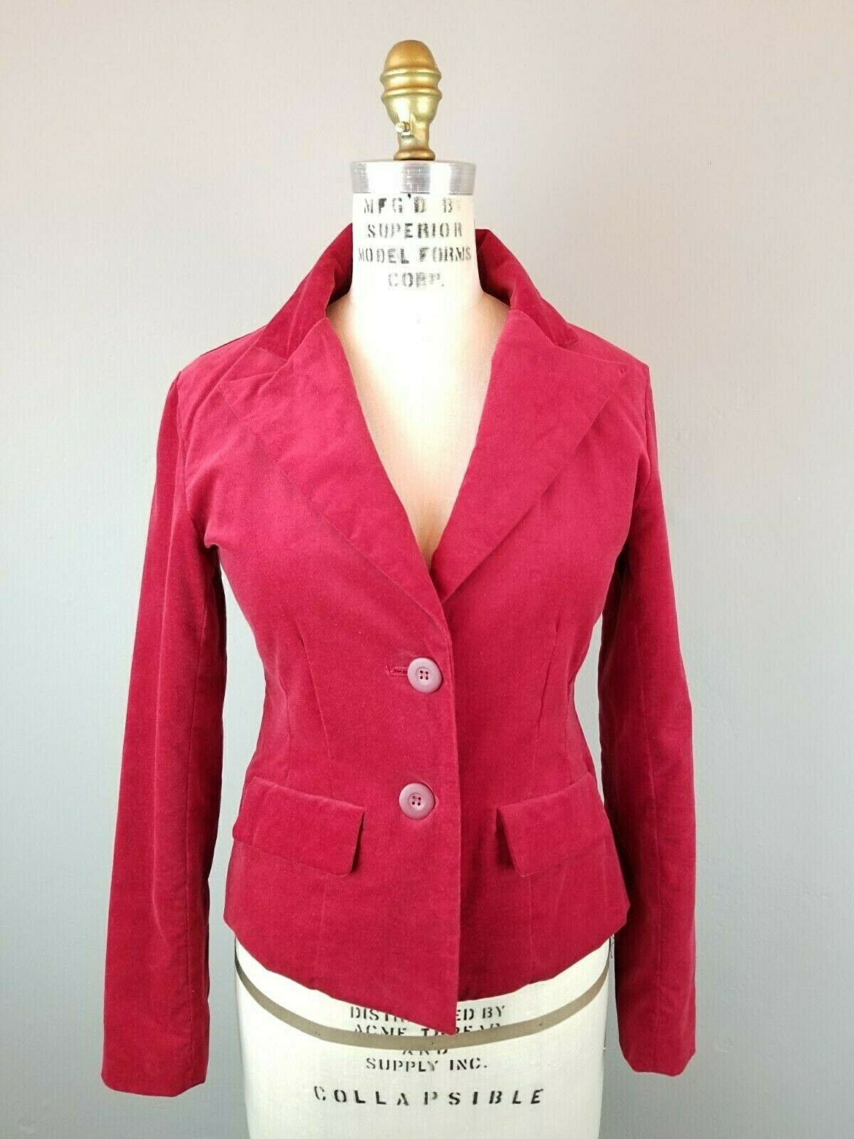 Red Velvet Fitted Blazer Womens Size Small  - image 1