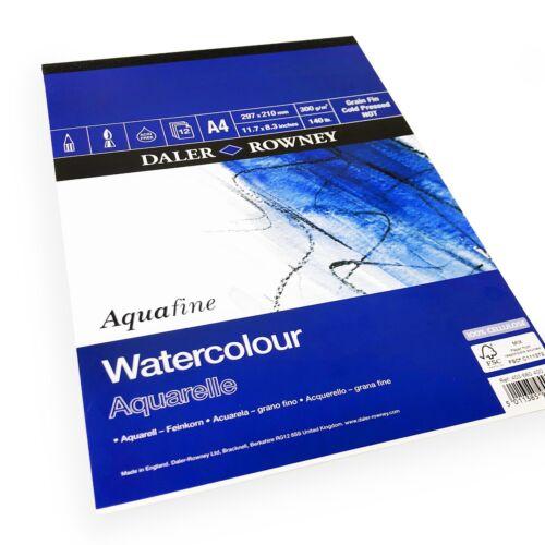 12 Sheets Daler Rowney Aquafine Watercolour A4 Sketchbook 300gsm