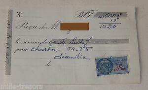 RECU-pour-CHARBON-54-55-de-decembre-1954-TIMBRE-Fiscal-de-16-FRANCS